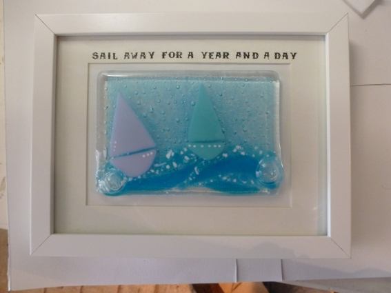 Framed Fused Glass Boat Tile