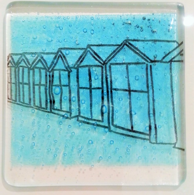hove is home, glass beach hut tile