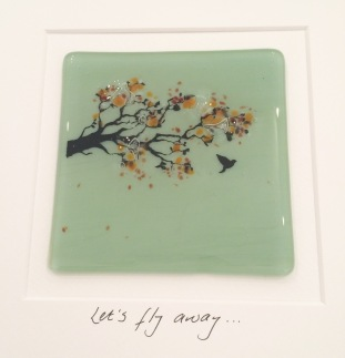 Fused Glass tile handmade here in Little Beach Boutique