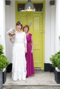 Me and my mum outside the beautiful green door of Pangdean
